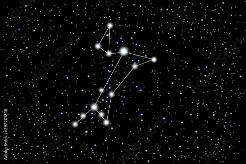 Photo Vector illustration of the constellation Great Dog on a starry black sky background