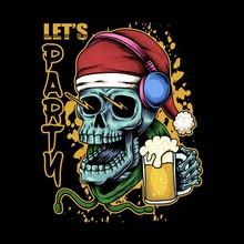 Skull Beer Christmas Illustrat...