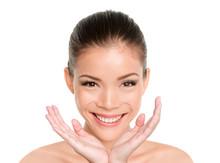 Happy Beauty Asian Woman Showi...
