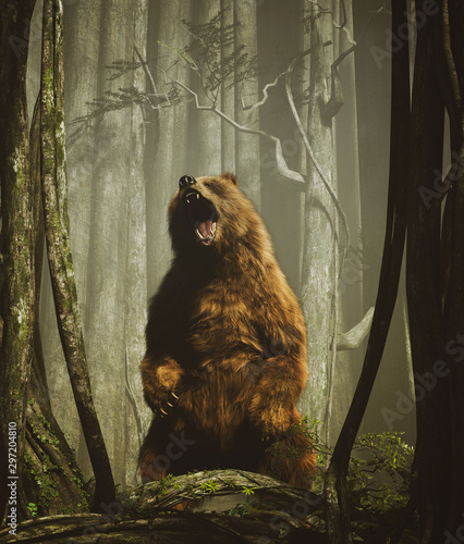 Fotografie, Tablou The forest's tales,Brown grizzly bear in magical forest,3d illustration