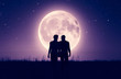 canvas print picture - Gay couples under the moonlight,3d rendering