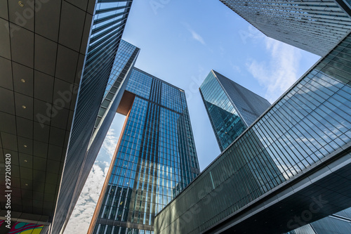 Obraz Modern city commercial center skyscrapers scenery in Beijing, low angle shot - fototapety do salonu