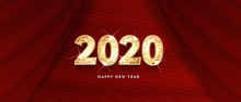 2020 Happy New Year. Gold Design Of Greeting Card. Gold Shining Pattern. Happy New Year Banner With 2020 Numbers On Bright Background. Vector Illustration