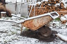 Garden Car Under The Snow. Gar...