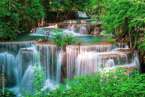 Huai Mae Kamin waterfall Srinakarin at Kanchanaburi, in Thailand.Onsen atmosphere. - 297210007