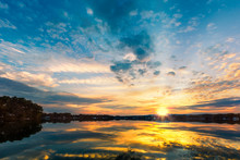 Dramatic Sunset Over Parsippany Lake In New Jersey