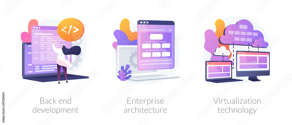 Fototapeta Software engineering, franchise building, cloud computing icons set. Back end development, enterprise architecture, virtualization technology metaphors. Vector isolated concept metaphor illustrations