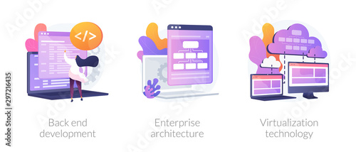 Fototapeta Software engineering, franchise building, cloud computing icons set. Back end development, enterprise architecture, virtualization technology metaphors. Vector isolated concept metaphor illustrations obraz
