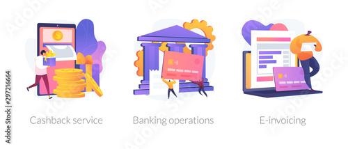 Valokuvatapetti E banking icons set