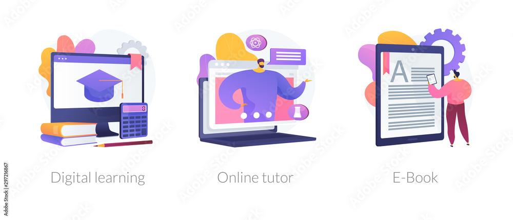 Fototapeta Internet school graduation, professional teacher service, electronic book device icons set. Digital learning, online tutor, e-Book metaphors. Vector isolated concept metaphor illustrations