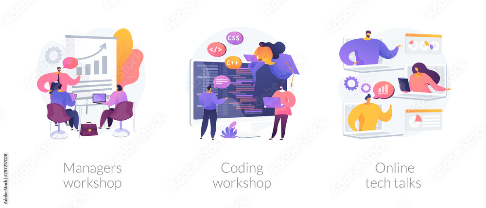 Fototapeta Business management coaching, programming courses, technical support icons set. Managers workshop, coding workshop, online tech talks metaphors. Vector isolated concept metaphor illustrations