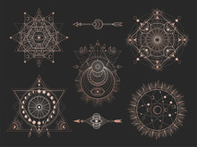 Vector Set Of Sacred Geometric Symbols And Figures On Black Background. Abstract Mystic Signs Collection.