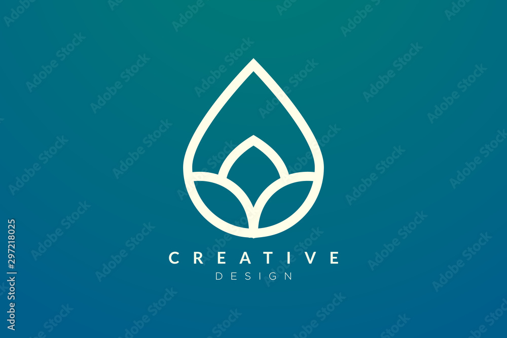 Fototapety, obrazy: Minimalist abstract shaped water drop logo design. Simple and modern vector design for business brand and product.