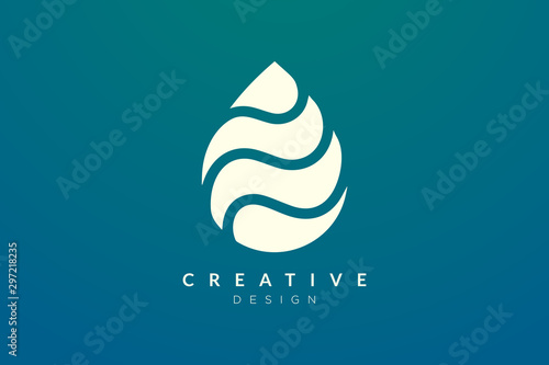 Minimalist abstract shaped water drop logo design Tablou Canvas