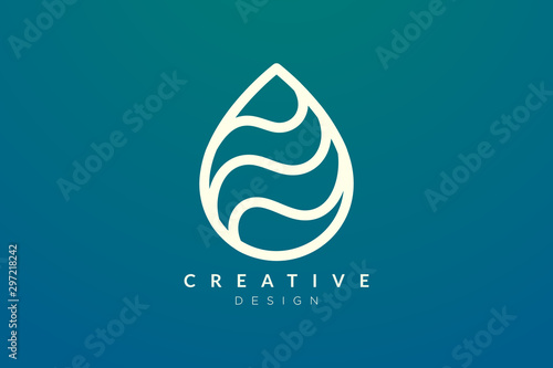 Fotografie, Tablou  Minimalist abstract shaped water drop logo design