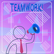 Leinwandbild Motiv Handwriting text Teamwork. Conceptual photo combined action of group especially when effective and efficient Outline Symbol Man Loudspeaker Making Announcement Giving Instructions