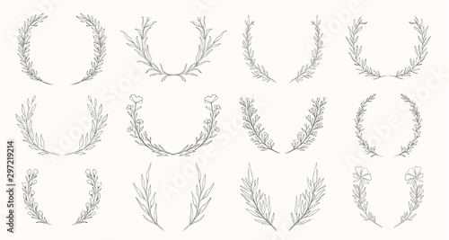 Leinwand Poster  Plant nature wreath hand drawn set