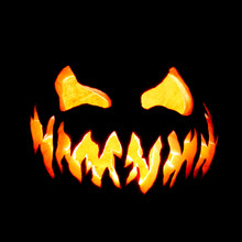 Scary Halloween Pumpkin Jack O Lantern Face Glowing Red And Yellow Eerily On Black