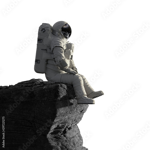 Cuadros en Lienzo astronaut on the Moon sitting on a cliff, isolated on white background