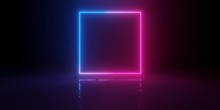 Abstract Blue And Red Glowing Neon Light Square In Empty Concrete Room With Shiny Reflective Floor