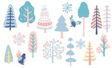Winter Set With Bird,snowflake,christmas Tree Illustration For Sticker,postcard,background,christmas Invitation