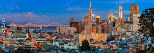 Photo Stands Cappuccino San Francisco skyline panorama at dusk with Bay Bridge and downtown skyline
