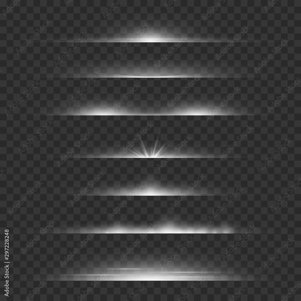 Fototapety, obrazy: Light dividers. Line flare glowing borders, white horizontal beams. Futuristic transparent rays vector set