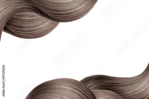 Montage in der Fensternische Friseur Natural brown hair isolated on white. Background