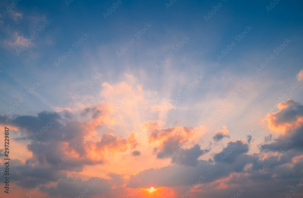 Fototapety, obrazy: Perfect sunset sky background