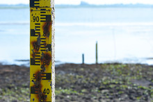 Water Measurement Scale Appear After Water In Lake Are Very Low Level.