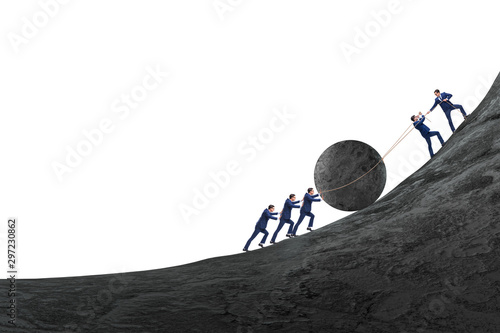 Fotografie, Obraz Teamwork example with business people pushing stone to top