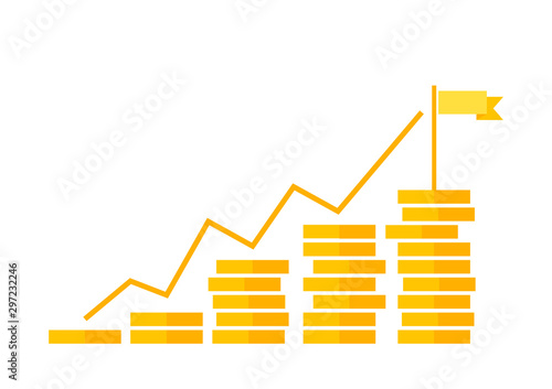 Fotomural  Savings, increasing columns of gold coins isolated on background with flag