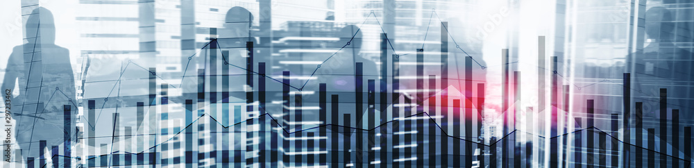 Fototapeta Concept of investing and analyzing a business. Abstract horizontal backgrounds