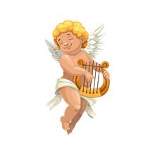 Cupid Winged Boy Playing On Ha...
