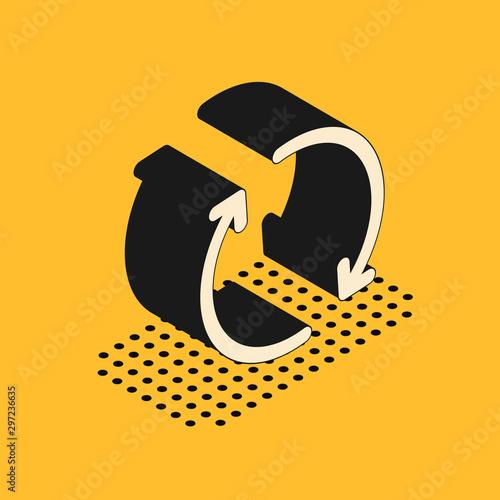 Fotografia Isometric Refresh icon isolated on yellow background