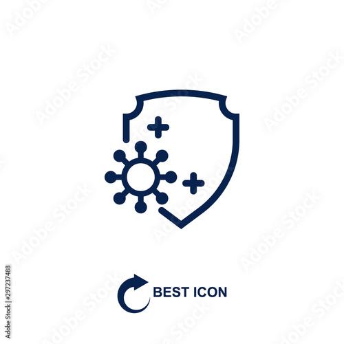 Photo virus and shield. monochrome icon
