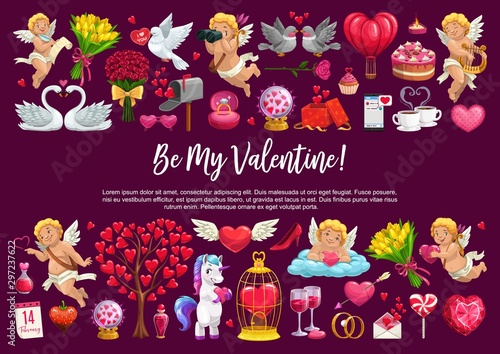 Be my Valentine, love hearts and cupid angels