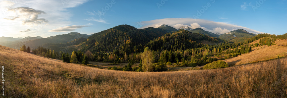 Fototapety, obrazy: Amazing mountain landscape with colorful vivid sunset on the blue sky