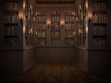 Mysterious Library With Candle...