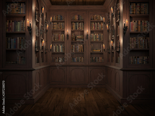 Mysterious library with candle lighting. With vintage books Poster Mural XXL