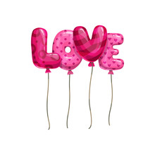 Balloons Word Love Isolated Le...