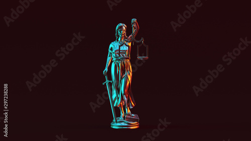 Cuadros en Lienzo Silver Lady Justice Statue the Personification of the Judicial System with Red O