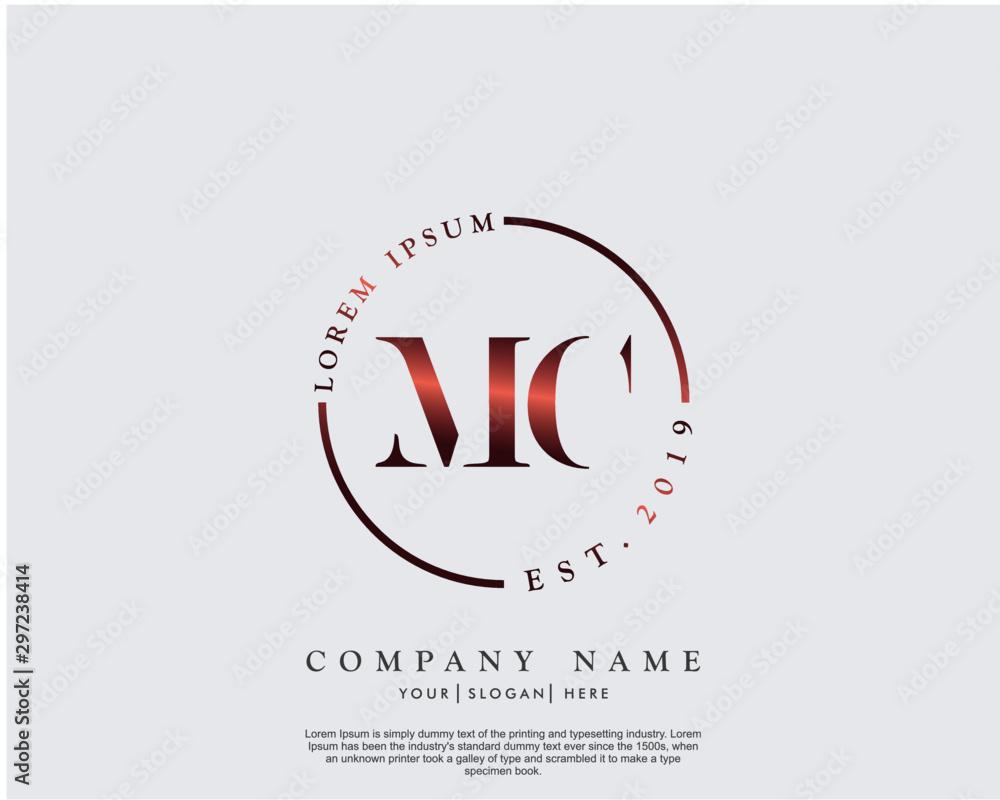 Fototapeta Initial letter MC beauty handwriting logo vector