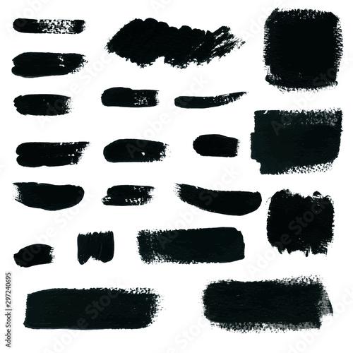 Fototapety, obrazy: Black Watercolor Brush Stroke Vector Hand drawn for design