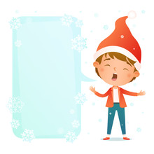 Cute Cartoon Boy In Red Santa ...