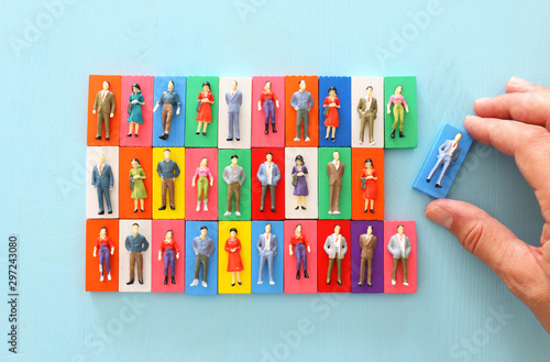 Pinturas sobre lienzo  business concept image of people figures over wooden table, human resources and