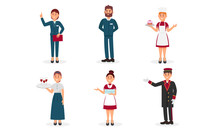 Hotel Polite And Friendly Staff Characters Vector Illustrations
