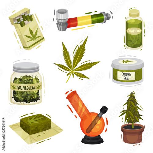 Fototapeta Cannabis Plant Things and Items Vector Illustrated Set obraz