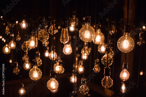 Fotomural  Hanging light bulbs