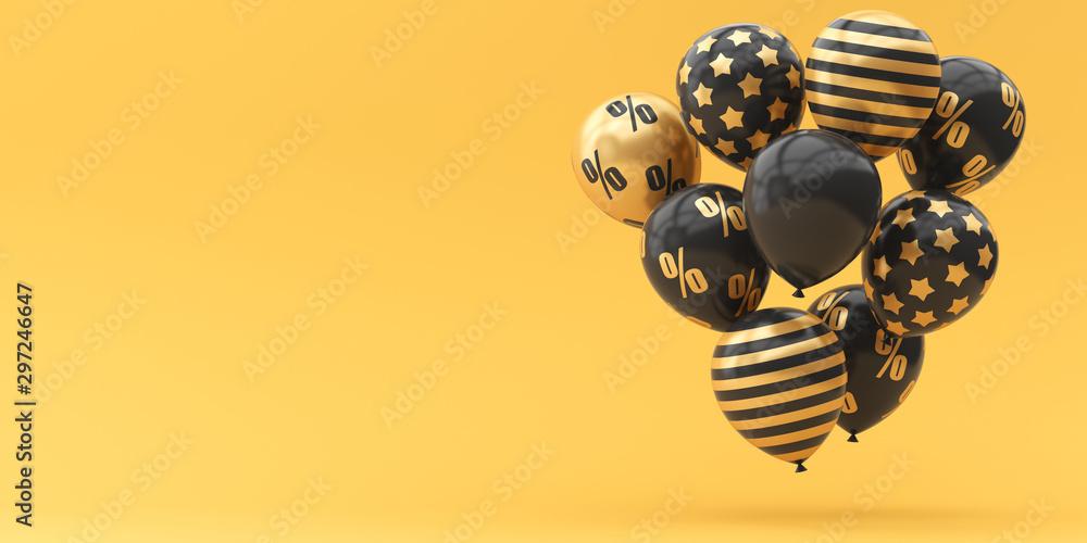 Fototapeta Balloons black with gold percent on a golden background. 3d render illustration. Black Friday.